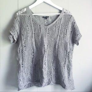 EILEEN FISHER Sheer Crochet Mix Stitch Sweater